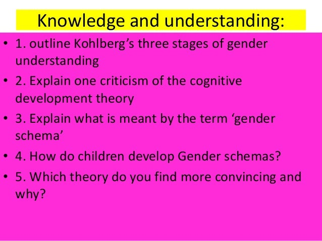 Knowledge and understanding: • 1. outline Kohlberg's three stages of gender understanding • 2. Explain one criticism of th...