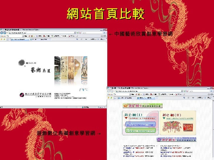 網站首頁比較 ← 中國藝術欣賞創意學習網   服飾數位典藏創意學習網  ->