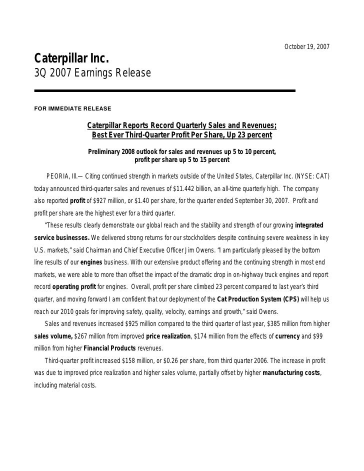 October 19, 2007 Caterpillar Inc. 3Q 2007 Earnings Release  FOR IMMEDIATE RELEASE                       Caterpillar Report...