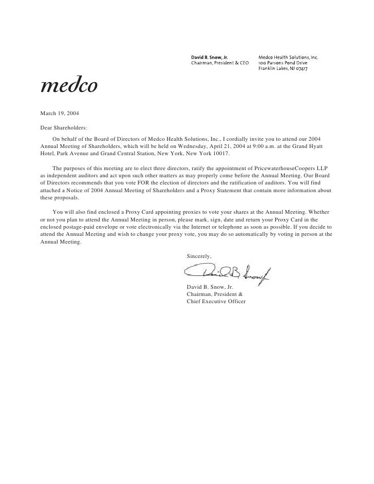 March 19, 2004  Dear Shareholders:     On behalf of the Board of Directors of Medco Health Solutions, Inc., I cordially in...
