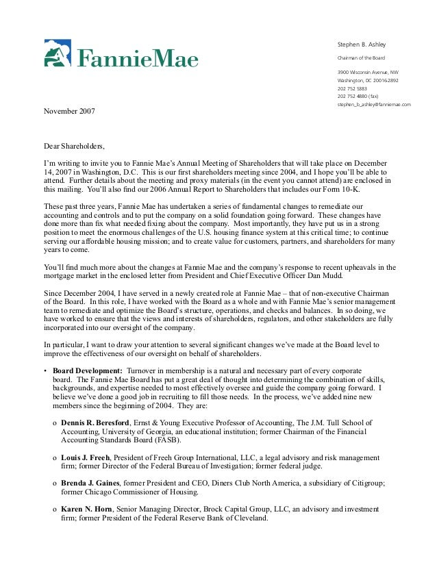 fannie mae letter from the chairman of the board of
