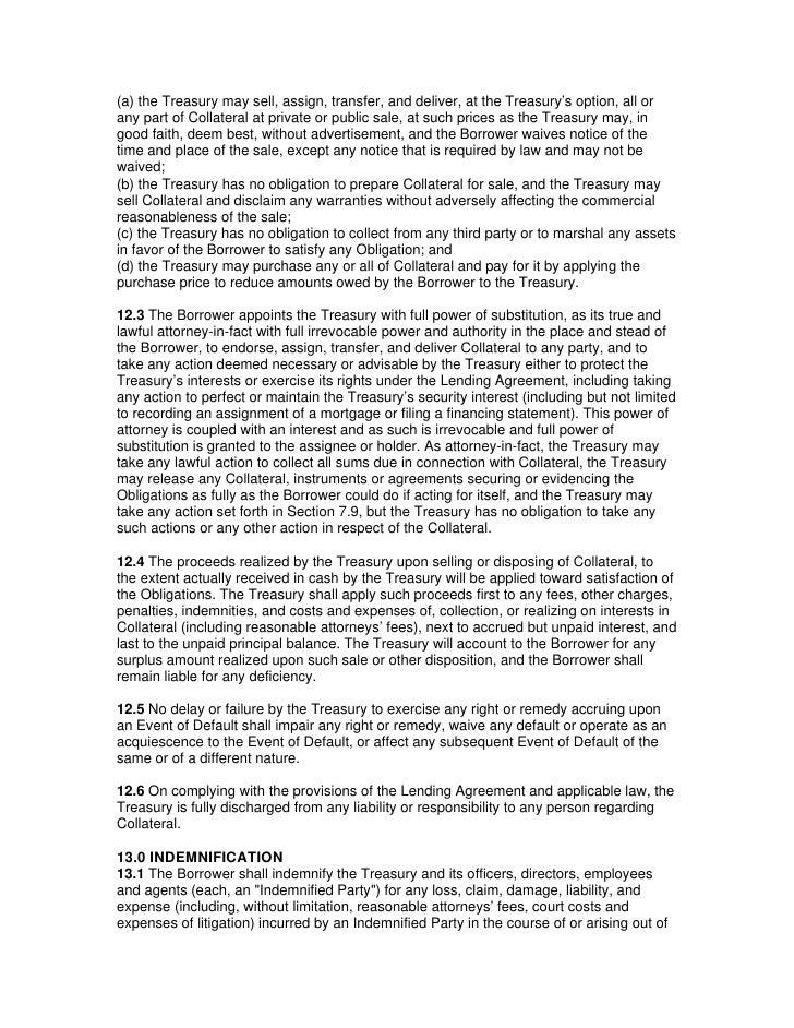 Treasury Gse Credit Facility Agreement