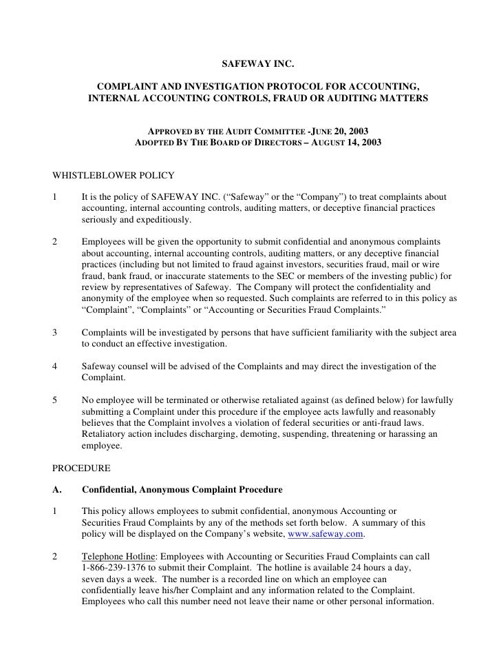 SAFEWAY INC.          COMPLAINT AND INVESTIGATION PROTOCOL FOR ACCOUNTING,       INTERNAL ACCOUNTING CONTROLS, FRAUD OR AU...