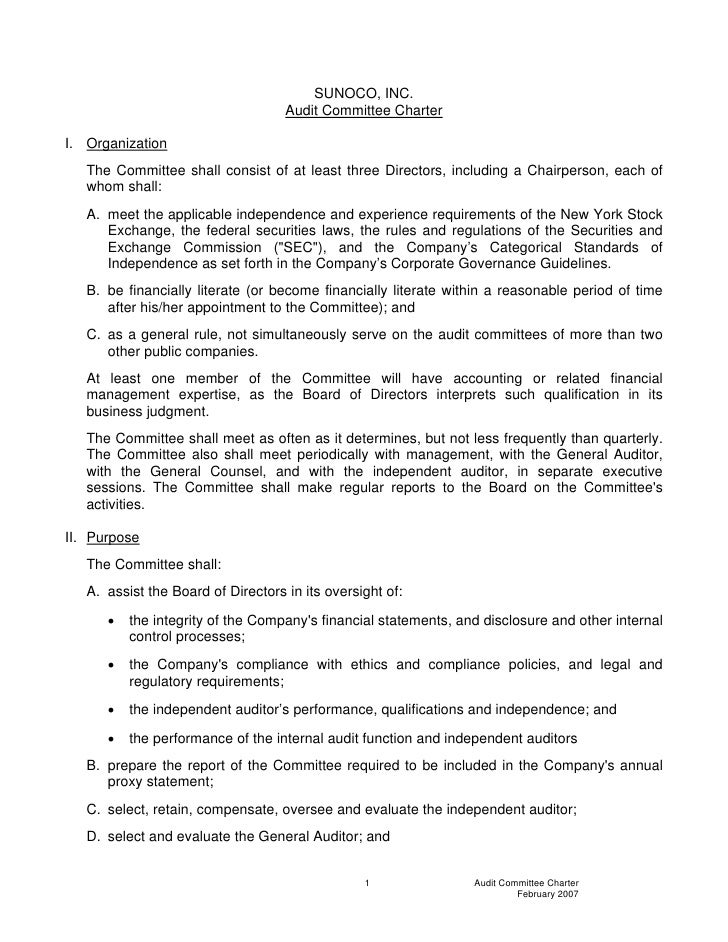 SUNOCO, INC.                                     Audit Committee Charter  I. Organization    The Committee shall consist o...