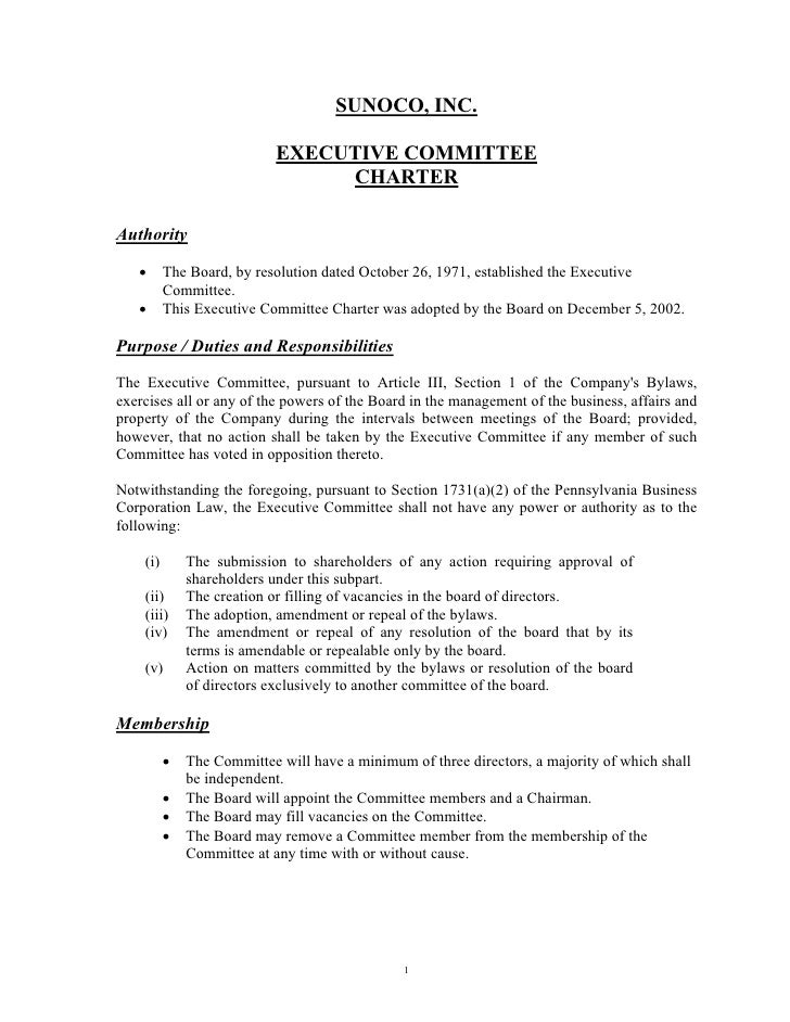 SUNOCO, INC.                              EXECUTIVE COMMITTEE                                  CHARTER  Authority     •   ...