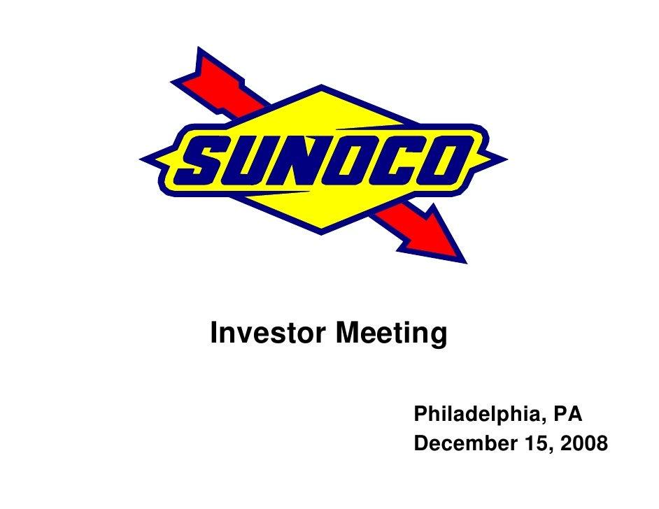 Investor Meeting               Philadelphia, PA              December 15, 2008