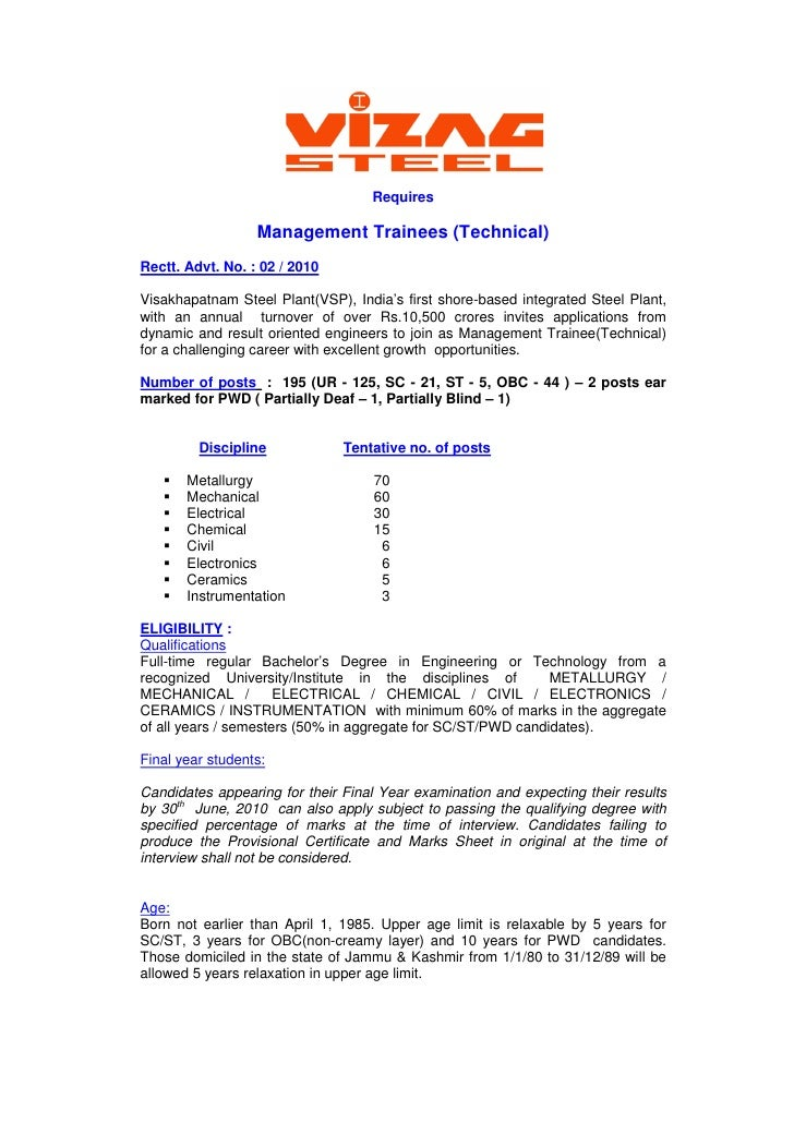 Requires                    Management Trainees (Technical) Rectt. Advt. No. : 02 / 2010  Visakhapatnam Steel Plant(VSP), ...