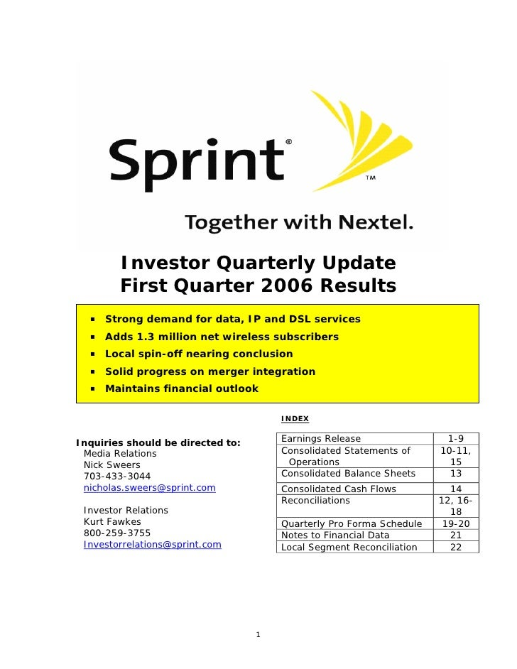 Investor Quarterly Update         First Quarter 2006 Results      Strong demand for data, IP and DSL services      Adds 1....