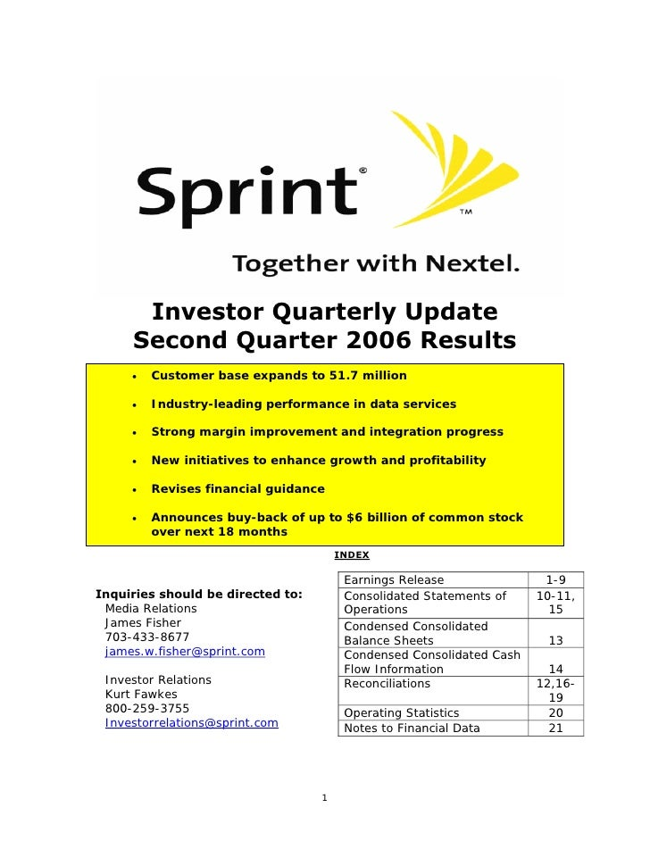 Investor Quarterly Update      Second Quarter 2006 Results          Customer base expands to 51.7 million      •          ...