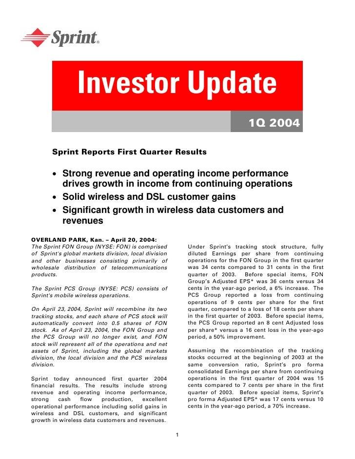 Investor Update                                                                                 1Q 2004         Sprint Rep...