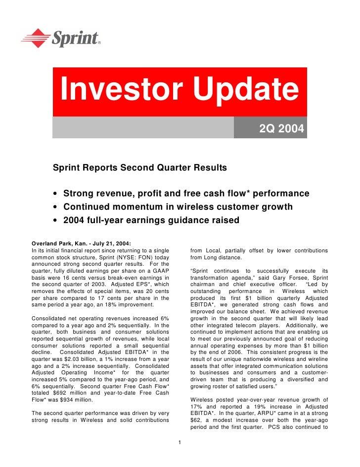 Investor Update                                                                                             2Q 2004       ...