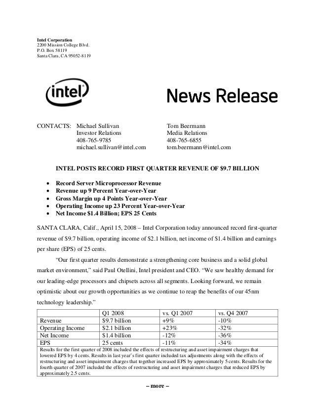 – more – Intel Corporation 2200 Mission College Blvd. P.O. Box 58119 Santa Clara, CA 95052-8119 CONTACTS: Michael Sullivan...