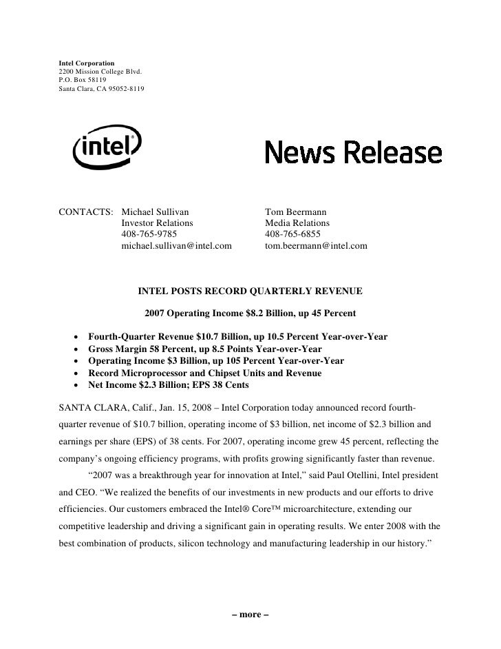 Intel Corporation 2200 Mission College Blvd. P.O. Box 58119 Santa Clara, CA 95052-8119     CONTACTS: Michael Sullivan     ...