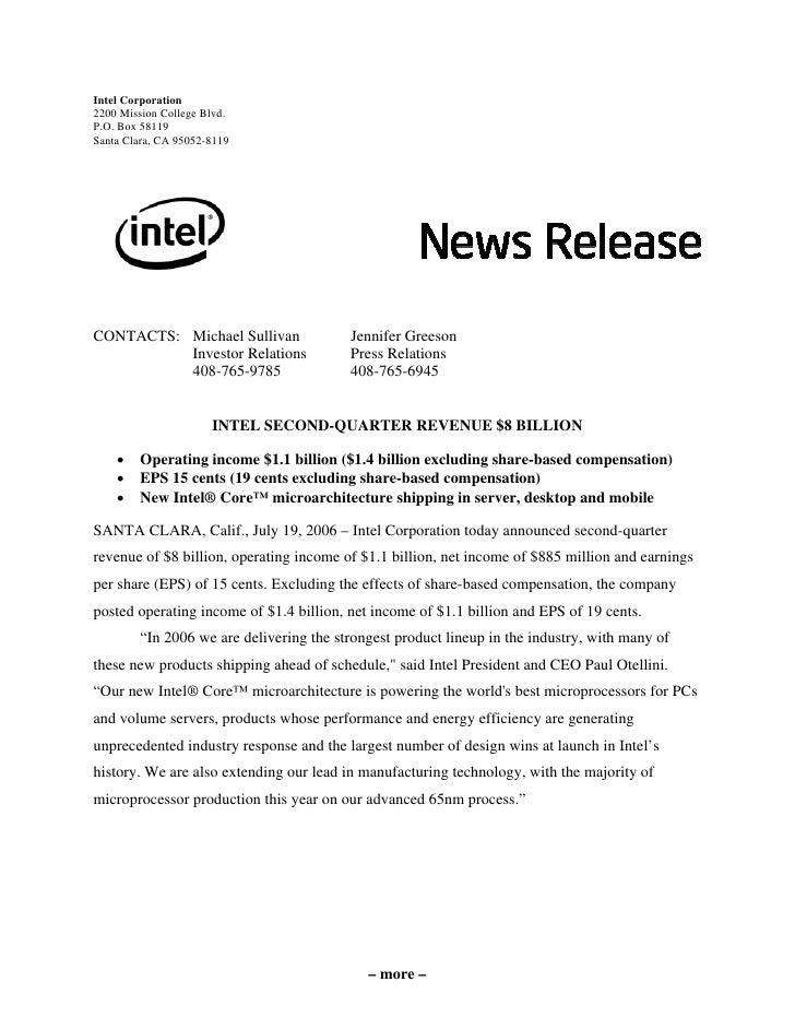Intel Corporation 2200 Mission College Blvd. P.O. Box 58119 Santa Clara, CA 95052-8119     CONTACTS: Michael Sullivan     ...