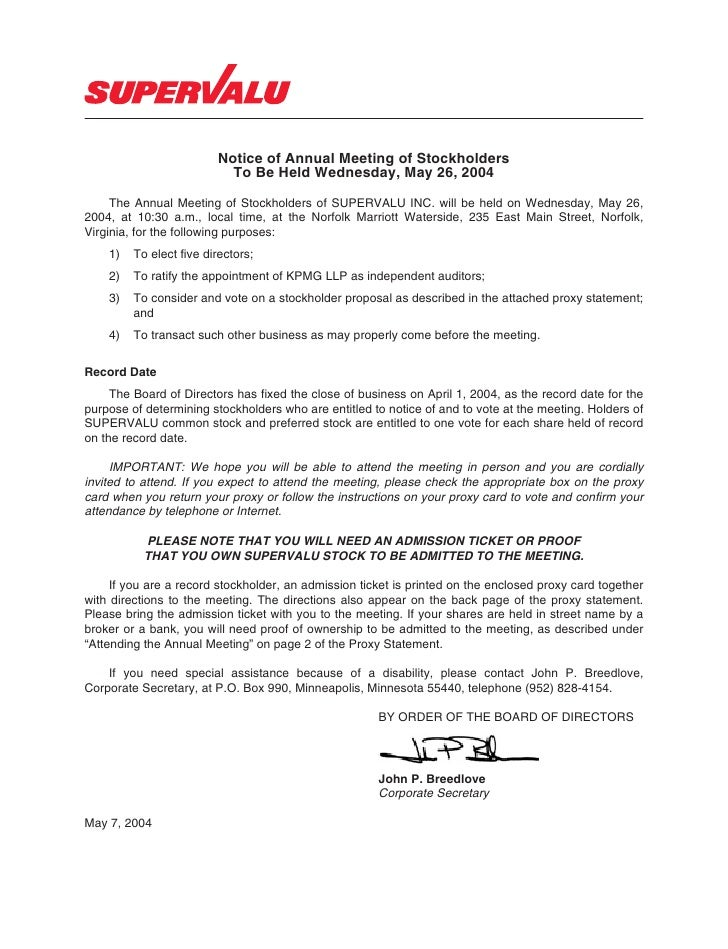 Notice of Annual Meeting of Stockholders                            To Be Held Wednesday, May 26, 2004       The Annual Me...