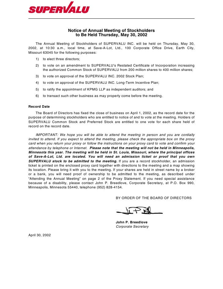 Notice of Annual Meeting of Stockholders                             to Be Held Thursday, May 30, 2002     The Annual Meet...