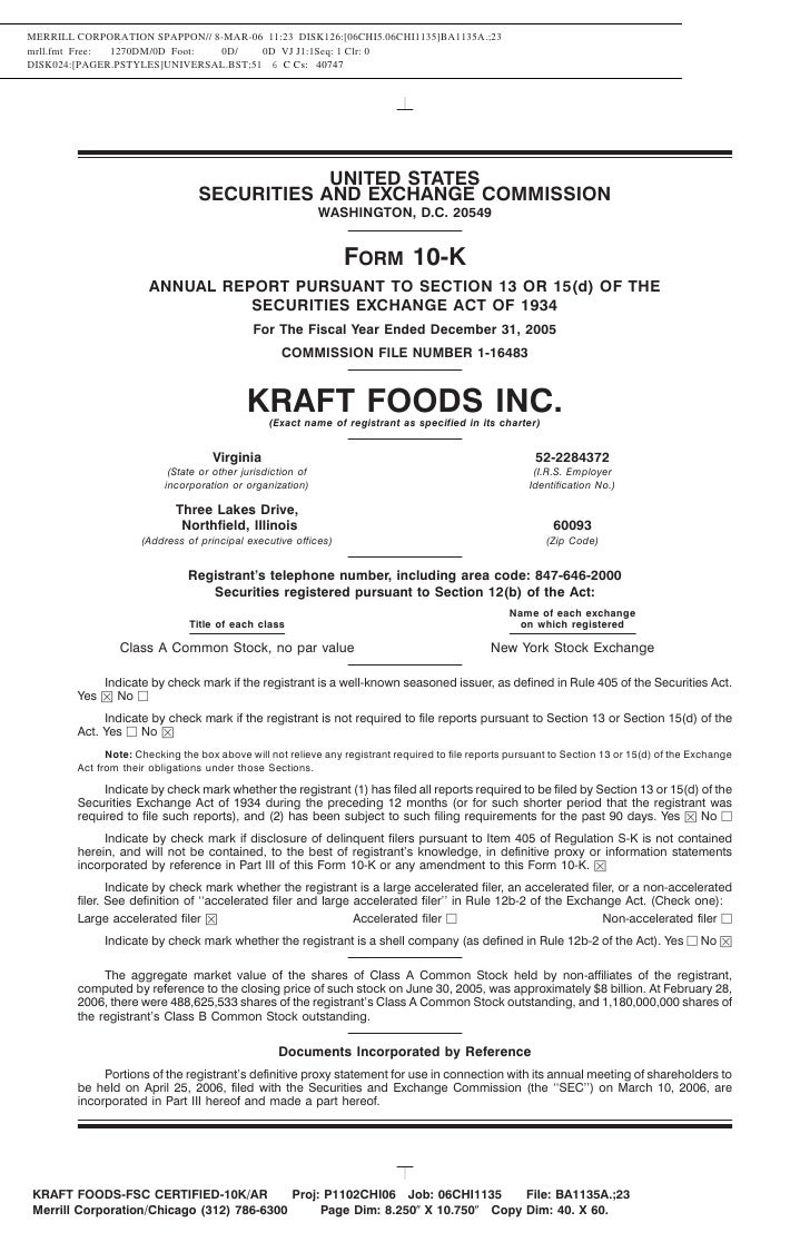 kraft foods annual report