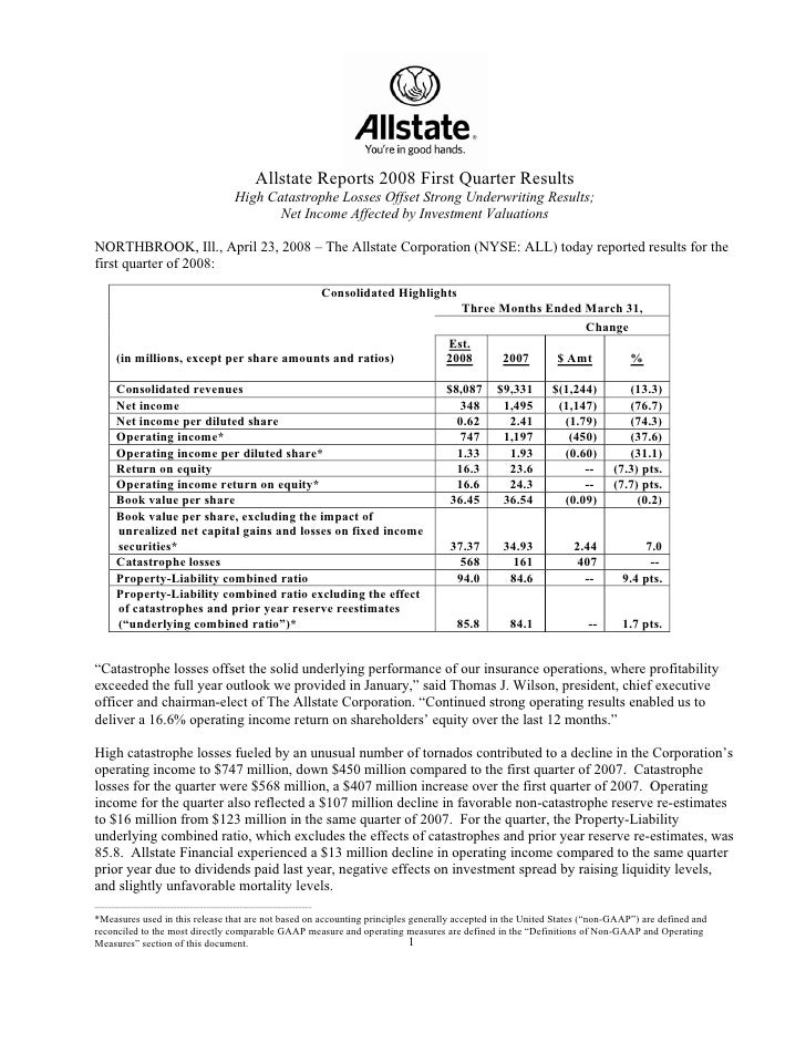 Allstate Reports 2008 First Quarter Results                                           High Catastrophe Losses Offset Stron...