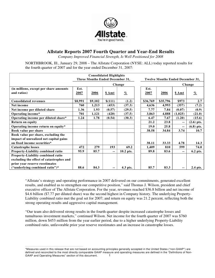 Allstate Reports 2007 Fourth Quarter and Year-End Results                                               Company Improved F...