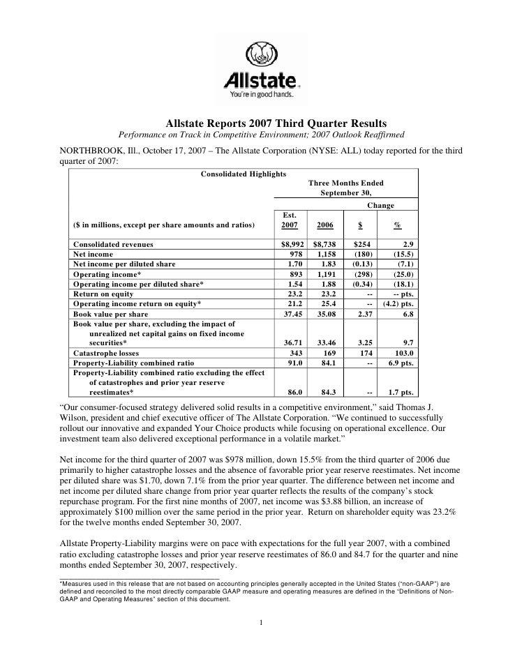 Allstate Reports 2007 Third Quarter Results                    Performance on Track in Competitive Environment; 2007 Outlo...