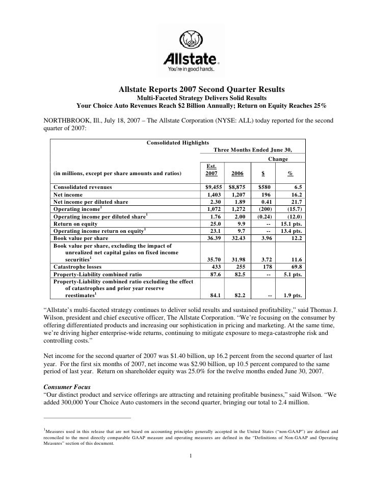 Allstate Reports 2007 Second Quarter Results                                   Multi-Faceted Strategy Delivers Solid Resul...