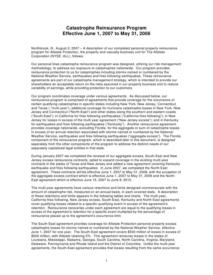 Catastrophe Reinsurance Program                     Effective June 1, 2007 to May 31, 2008  Northbrook, Ill., August 2, 20...