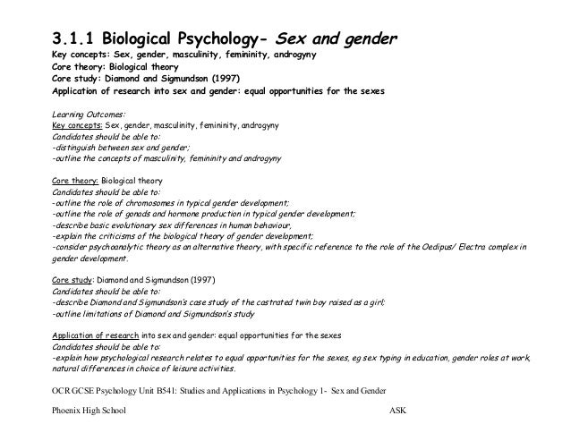 Psychology of sex and gender essay Research paper Sample