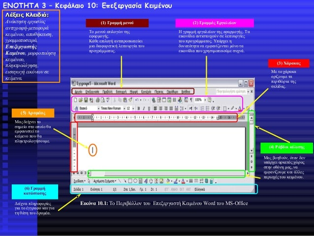 ΕΝΟΤΗΤΑ 3 – Κεφάλαιο 10: Επεξεργασία Κειμένου Λέξεις ΚλειδιάΛέξεις Κλειδιά:: Ανάκτηση εργασίας αντιγραφή-μεταφορά κειμένου...
