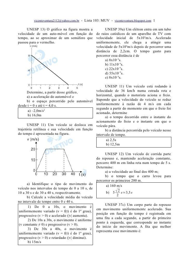 vicenteventura2112@yahoo.com.br   - Lista 103: MUV - vicenteventura.blogspot.com 1        UNESP 13) O gráfico na figura mo...