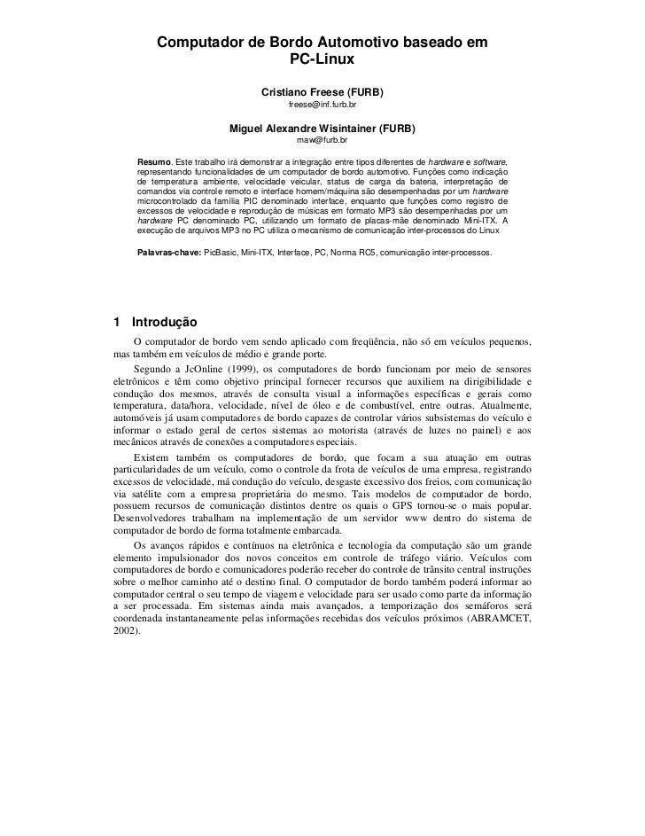 Computador de Bordo Automotivo baseado em                         PC-Linux                                     Cristiano F...