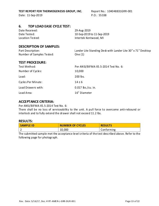 TEST REPORT FOR THERMOGENESIS GROUP, INC. Report No.: 104048831GRR-001 Date: 11-Sep-2019 P.O.: 55338 Rev. Date: 5/16/17, D...