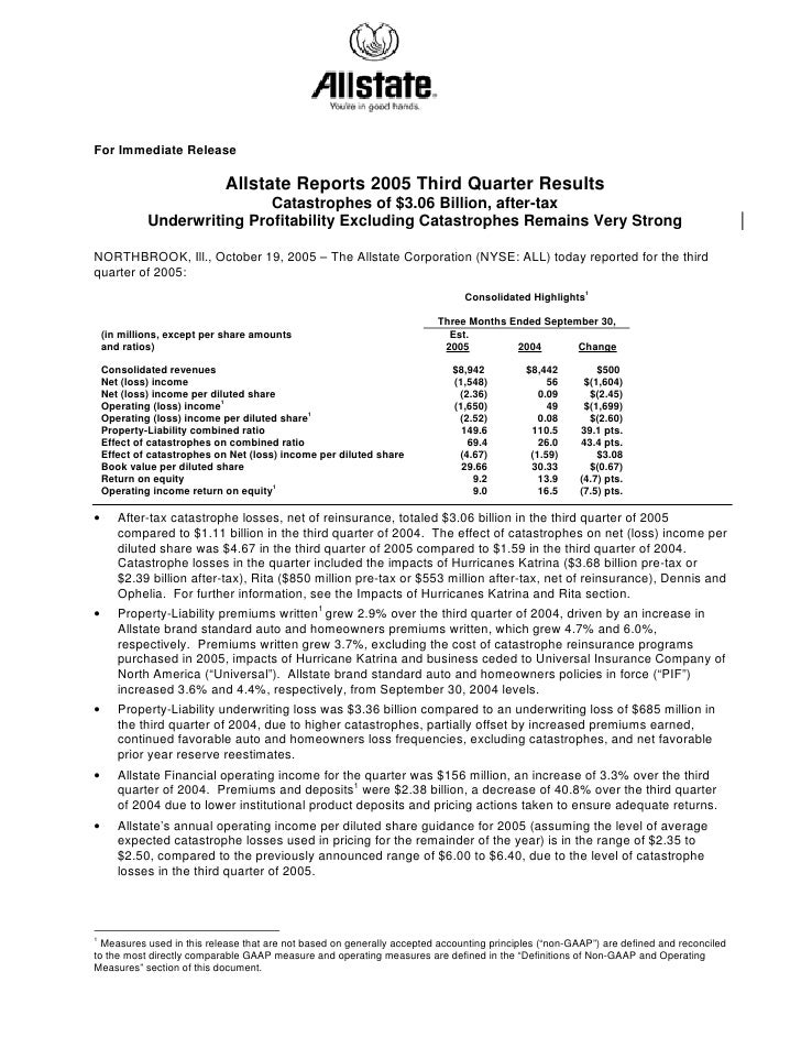 Allstate Quarterly Investor Information 2005 3rd Earnings Press Relea
