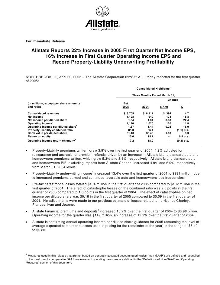 For Immediate Release        Allstate Reports 22% Increase in 2005 First Quarter Net Income EPS,             16% Increase ...