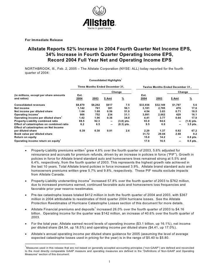 For Immediate Release             Allstate Reports 52% Increase in 2004 Fourth Quarter Net Income EPS,                    ...
