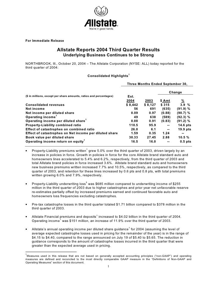 For Immediate Release                         Allstate Reports 2004 Third Quarter Results                            Under...