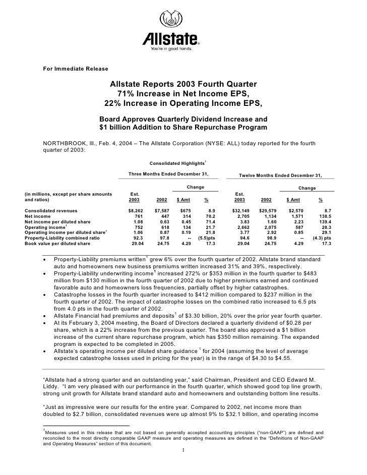 For Immediate Release                                     Allstate Reports 2003 Fourth Quarter                            ...