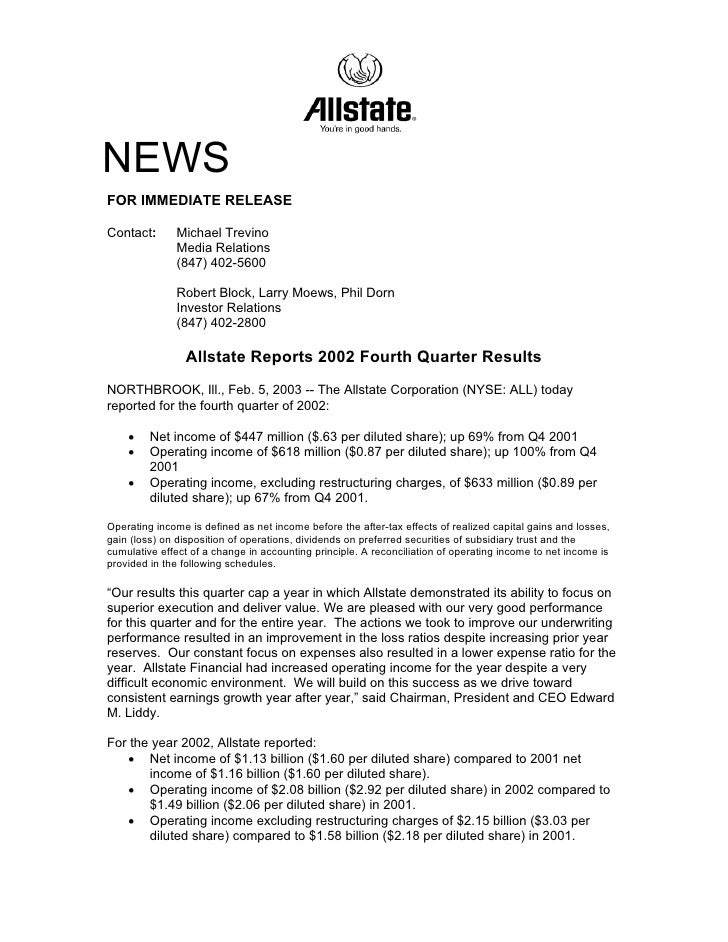 NEWS FOR IMMEDIATE RELEASE  Contact:      Michael Trevino               Media Relations               (847) 402-5600      ...