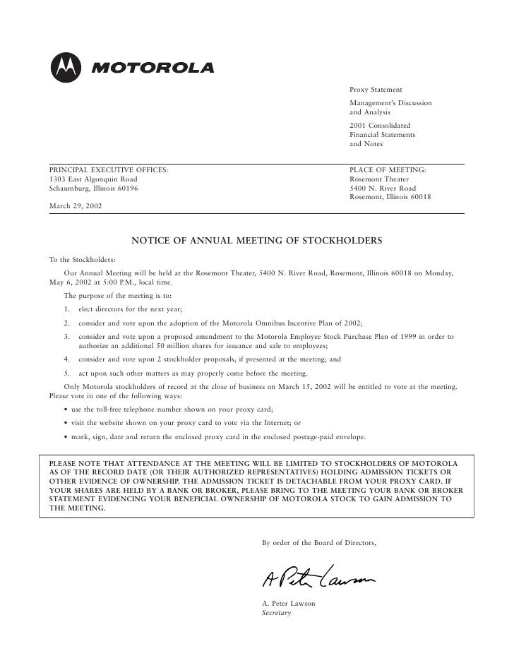 motorola Proxy Statement for 2002 Annual Meeting (Includes Management's Discussion and Analysis and Financial Statements f...