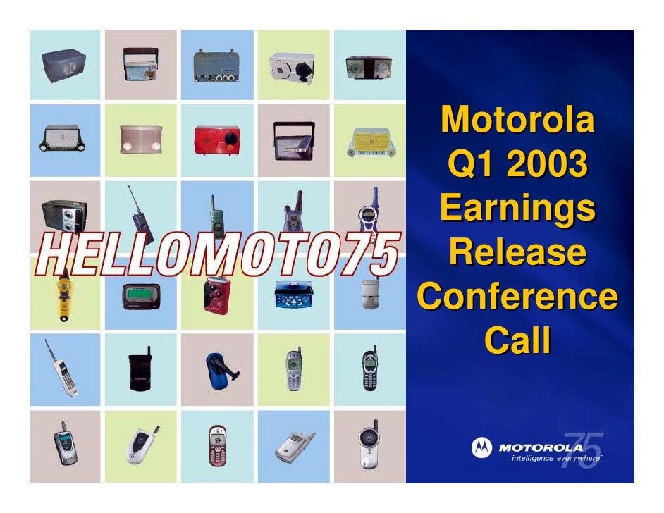 Motorola                                         Q1 2003                                         Earnings                 ...