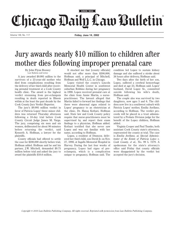 ®Volume 148, No. 117                                              Friday, June 14, 2002    Jury awards nearly $10 million ...