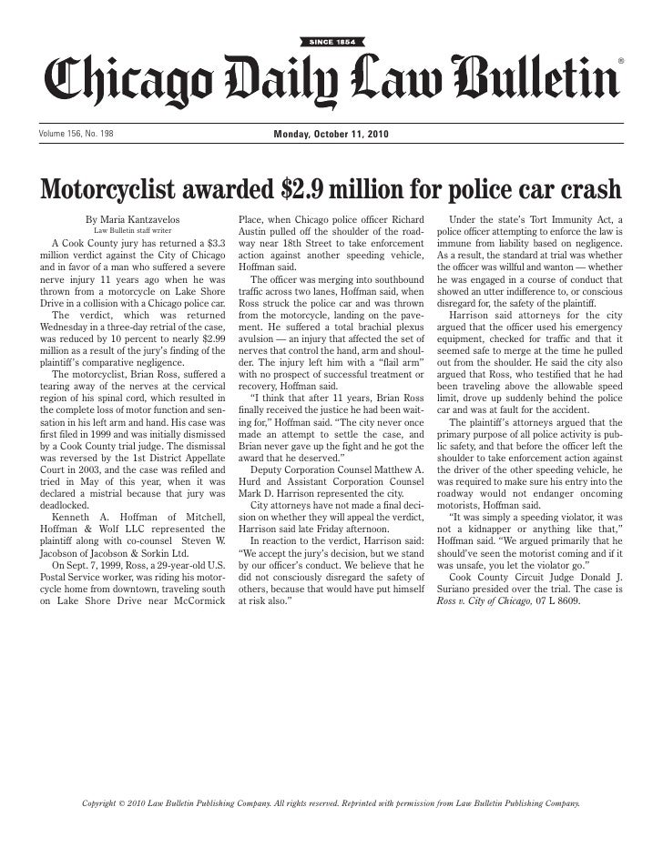 ®Volume 156, No. 198                                           Monday, October 11, 2010Motorcyclist awarded $2.9 million f...