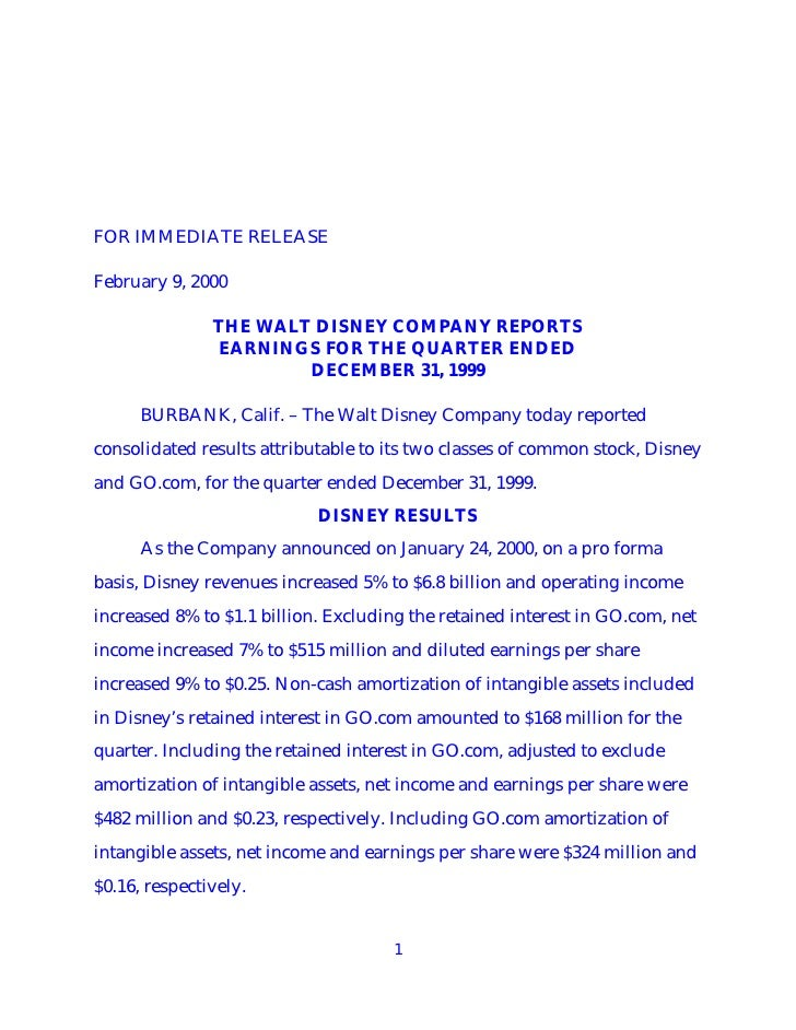 FOR IMMEDIATE RELEASE  February 9, 2000                 THE WALT DISNEY COMPANY REPORTS                 EARNINGS FOR THE Q...