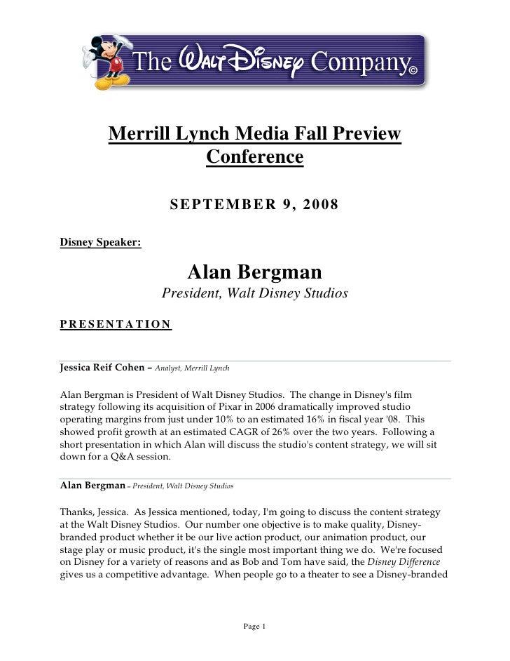 Merrill Lynch Media Fall Preview                        Conference                              SEPTEMBER 9, 2008  Disney ...