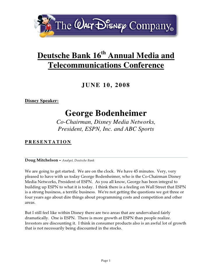 Deutsche Bank 16th Annual Media and          Telecommunications Conference                                  JUNE 10, 2008 ...