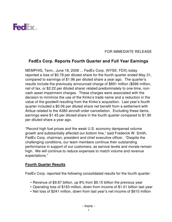 FOR IMMEDIATE RELEASE    FedEx Corp. Reports Fourth Quarter and Full Year Earnings  MEMPHIS, Tenn., June 18, 2008 ... FedE...