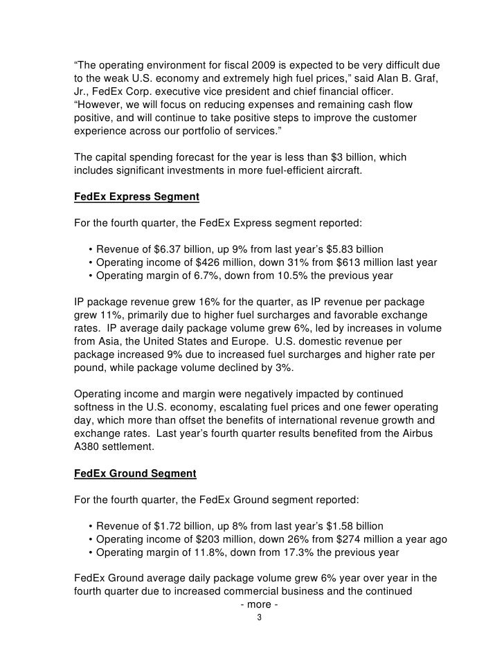 View Summary FedEx Corp  Reports Fourth Quarter and Full