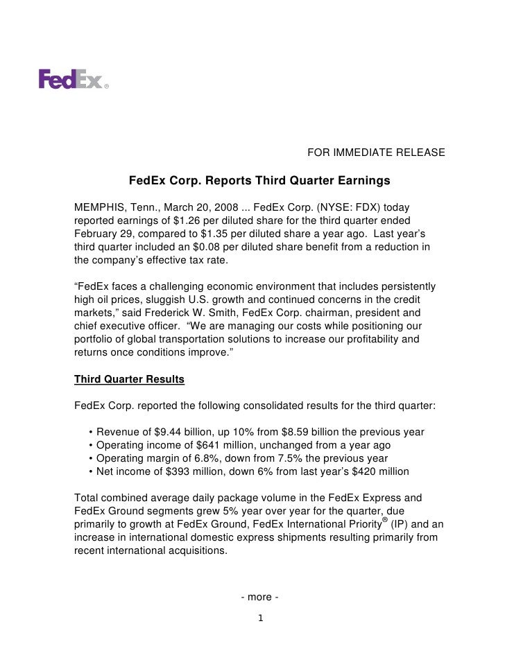 FOR IMMEDIATE RELEASE               FedEx Corp. Reports Third Quarter Earnings  MEMPHIS, Tenn., March 20, 2008 ... FedEx C...