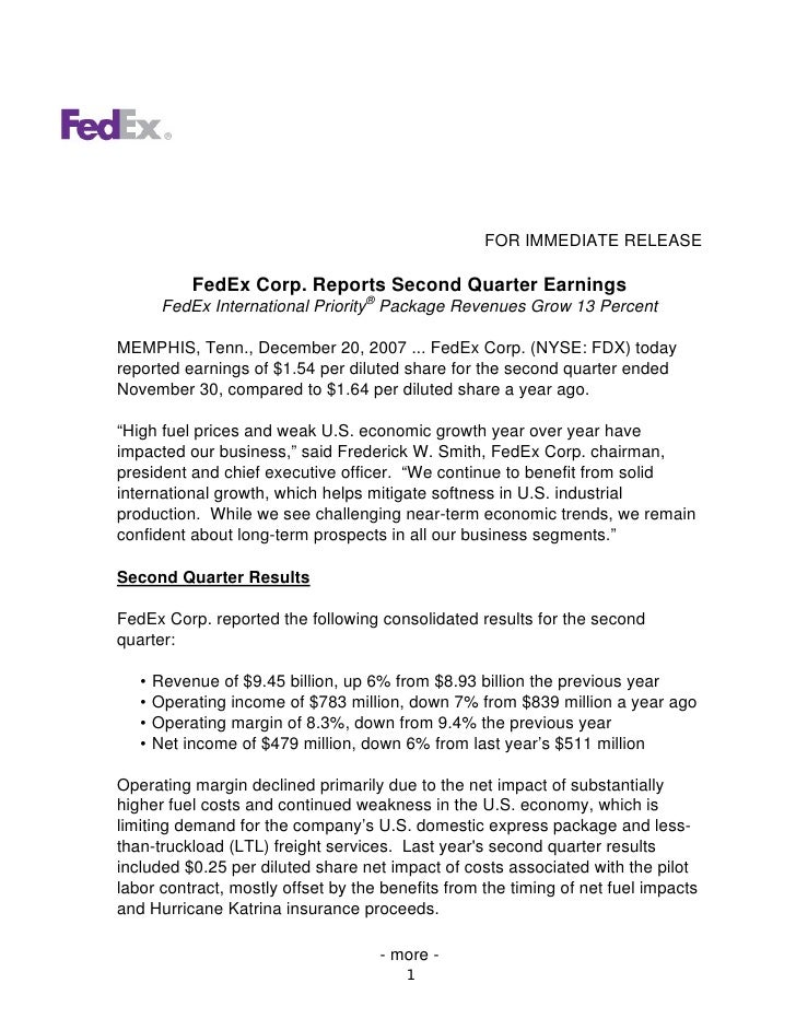 FOR IMMEDIATE RELEASE              FedEx Corp. Reports Second Quarter Earnings         FedEx International Priority® Packa...