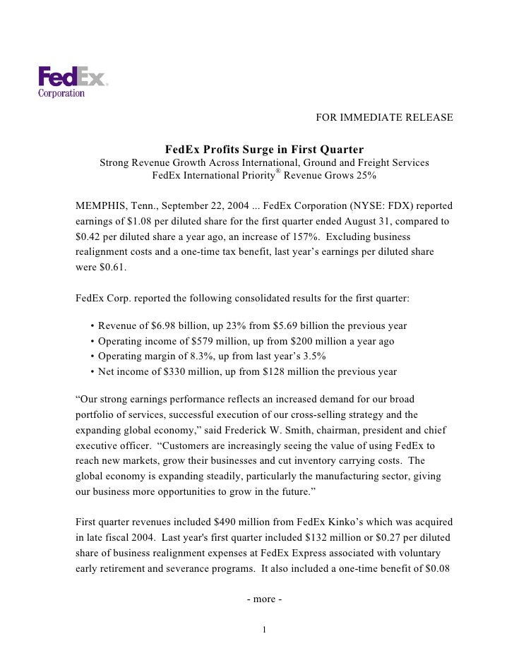 FOR IMMEDIATE RELEASE                       FedEx Profits Surge in First Quarter        Strong Revenue Growth Across Inter...