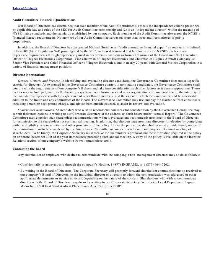 Table of Contents    Audit Committee Financial Qualifications     Our Board of Directors has determined that each member o...